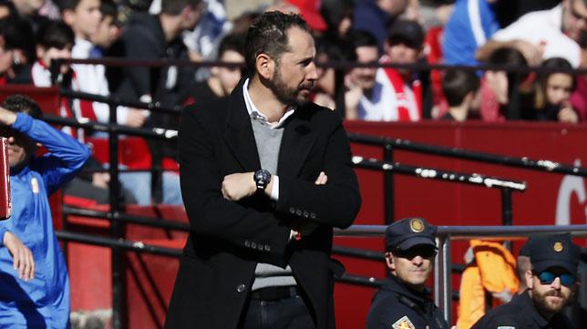 Pablo Machín, durante el Levante-Sevilla (J. M. Serrano)
