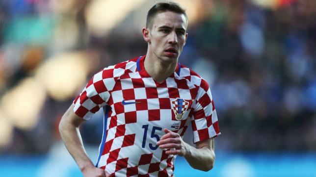 Marko Rog, en un partido con la selección de Croacia