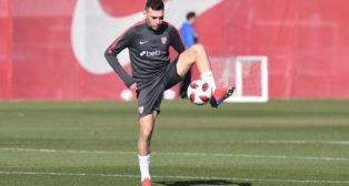 Munir, en su primer entrenamiento con el Sevilla (J. J. Úbeda)