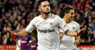Sarabia celebra su gol contra el Barcelona en la ida de los cuartos de la Copa del Rey (Foto: EFE).