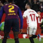 Sarabia celebra su gol ante el Barça (J. M. Serrano)
