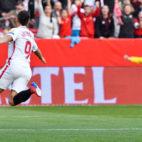 Ben Yedder celebra su gol ante la Lazio (EFE)