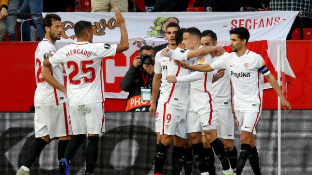Celebración de los jugadores del Sevilla FC del gol de Ben Yedder ante la Lazio. Foto: UEFA