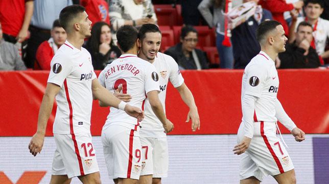 André Silva, Ben Yedder, Sarabia y Roque Mesa, en el Sevilla-Lazio (Manu Gómez)