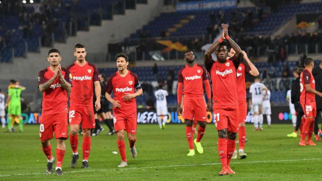 Banega, André Silva, Amadou, Navas y Promes, en el Lazio-Sevilla (EFE)