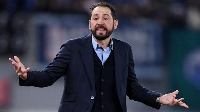 Pablo Machín, durante el Lazio-Sevilla (Reuters)