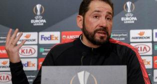 El entrenador del Sevilla, Machín, en la previa del partido ante la Lazio (EFE)