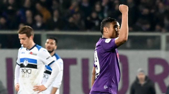 Luis Muriel (d) celebra su gol este miércoles en el partido de la semifinal de la Coppa Italia ante el Atalanta (Foto: EFE/CLAUDIO GIOVANNINI)