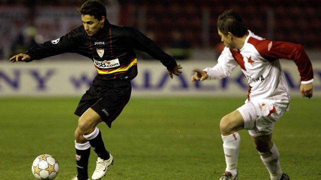 Navas, en el Slavia-Sevilla de la Liga de Campeones 2007-2008