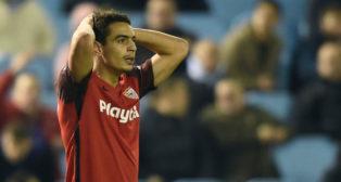 Ben Yedder se lamenta tras su ocasión fallada en el Celta-Sevilla (Foto: AFP).