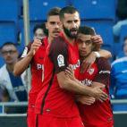 Ben Yedder, Gonalons y André Silva, en el Espanyol-Sevilla (EFE)