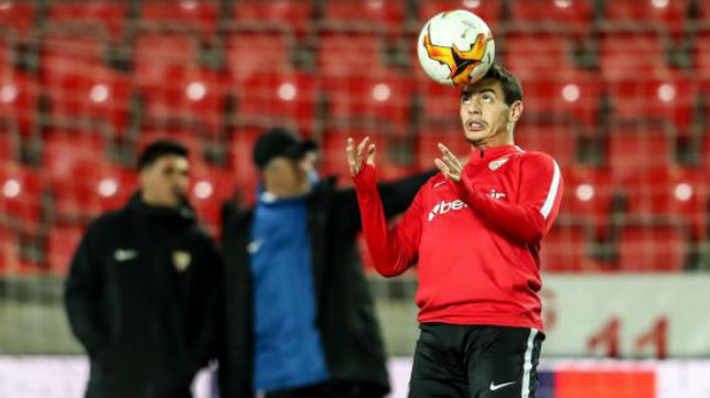 Ben Yedder, en el estadio del Slavia (EFE)