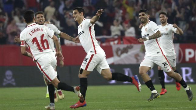 Ben Yedder, Navas, Carriço, Banega y Sergi Gómez, en el Sevilla-REal Sociedad (J. M. Serrano)