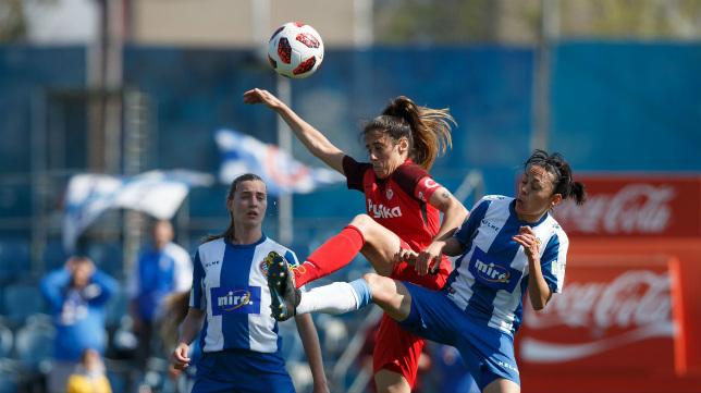 Lance del Espanyol-Sevilla FC Femenino disputado este domingo