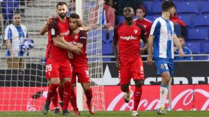 Gonalons, André Silva, Ben Yedder y Amadou, en el Espanyol-Sevilla (AFP)