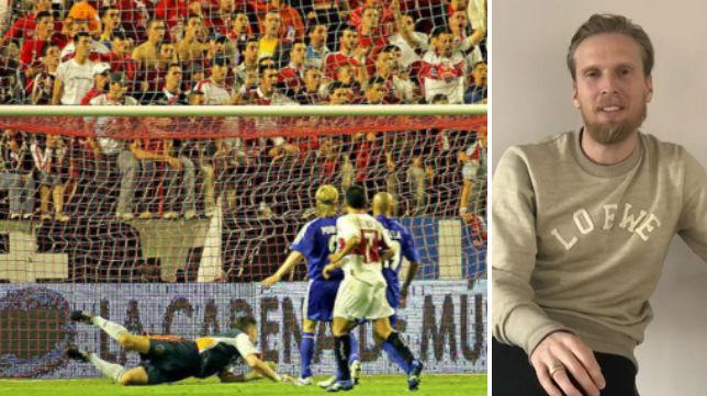 Poulsen, en su casa, en Amsterdam; a la izquierda, el momento en el que observa cómo entra el gol de Puerta