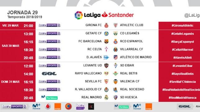 Horarios de la jornada 29 con el Sevilla-Valencia