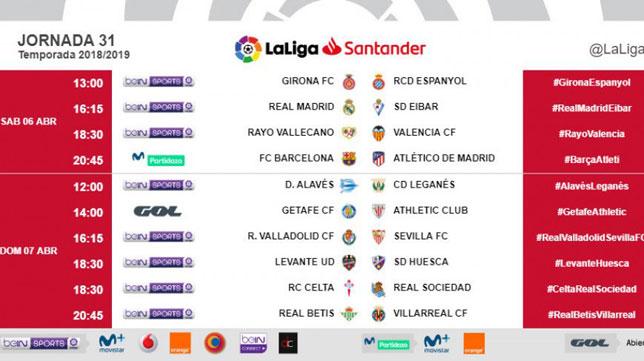 Horarios de la jornada 31 con el Valladolid-Sevilla