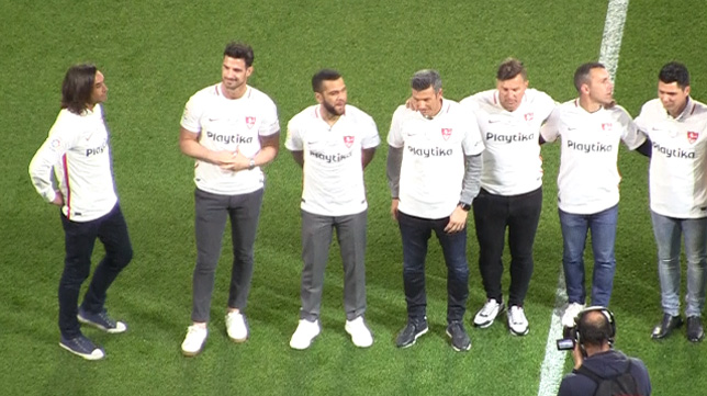 Jugadores de la semifinal ante el Schalke 04, antes del Trofeo Antonio Puerta