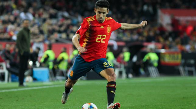Jesús Navas, en un partido con España