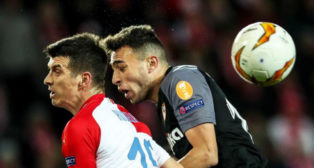 Munir en el partido ante el Slavia en Praga (Reuters)