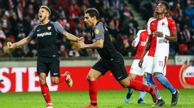 Ben Yedder celebra su gol ante el Slavia (Reuters)