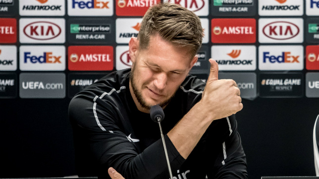 Tomas Vaclik, ayer en la rueda de prensa en el Eden Arena