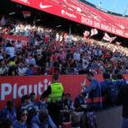 Aspecto de la grada del Sánchez-Pizjuán en el entrenamiento a puerta abierta de este viernes