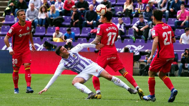 Lance del duelo entre Valladolid y Getafe