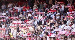 Imagen de una de las gradas del Sánchez-Pizjuán durante el Sevilla-Athletic (Foto: Manuel Gómez).