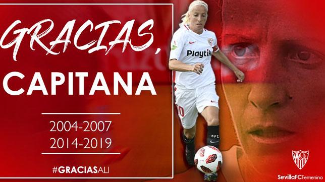 El cartel del homenaje a Alicia por parte del Sevilla FC