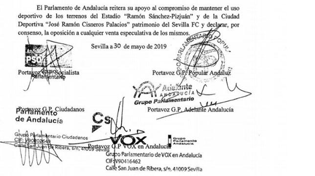 Extracto de la Declaración Institucional firmada por el Parlamento de Andalucía