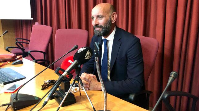 Monchi, durante el acto de clausura del Máster en Periodismo Deportivo de la Universidad de Sevilla