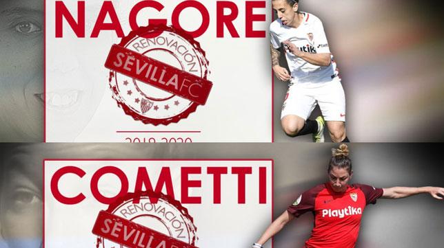 Nagore y Cometti, renovadas hasta 2020 (Foto: Sevilla FC)
