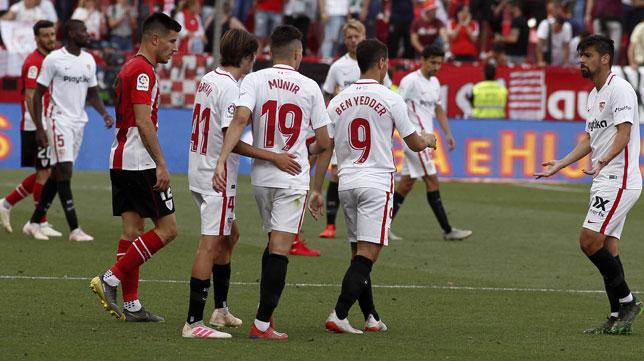 Bryan, Munir, Ben Yedder y Nolito, en el Sevilla-Athletic (Manuel Gómez)