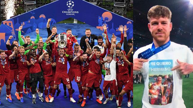 Los jugadores del Liverpool levantan la Champions League y Alberto Moreno muestra su homenaje a Reyes