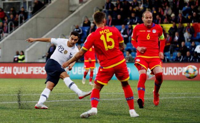 Ben Yedder, en el momento que le hace el gol a Andorra