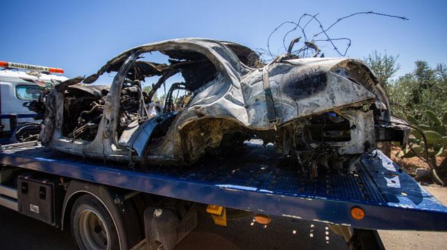 Así quedó el vehículo en el que se accidentó José Antonio Reyes (Foto: Vanessa Gómez).