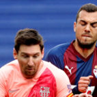 Jordán lucha con Messi en un Eibar-Barcelona