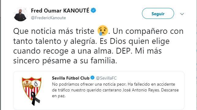 El tweet de Kanouté lamentando el fallecimiento de José Antonio Reyes