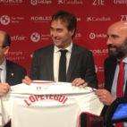 Castro, Lopetegui y Monchi, en la presentación del técnico (Foto: A. M.)