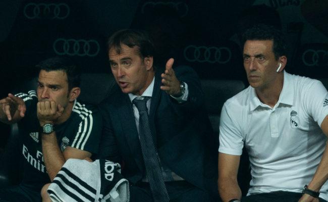 Óscar Caro, Julen Lopetegui y Pablo Sanz, en su etapa en el Real Madrid