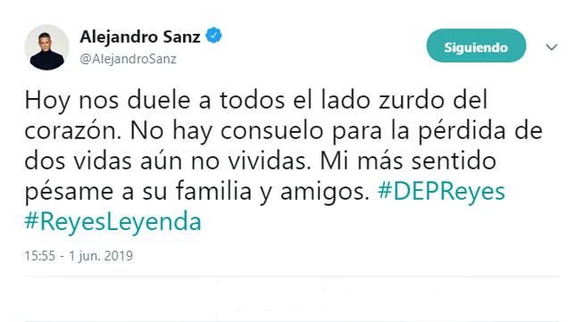 El tweet de Alejandro Sanz en recuerdo a José Antonio Reyes