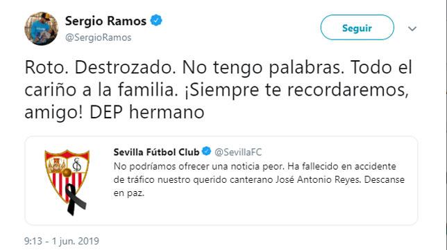 El tweet de Sergio Ramos sobre la muerte de José Antonio Reyes