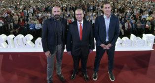 Monchi, José castro y Julen Lopetegui, durante el acto de Fieles de Nervión (Foto: Sevilla FC).