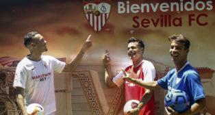 Ocampos, Reguilón y Óliver Torres, durante su presentación por el Sevilla (foto: Manuel Gómez)