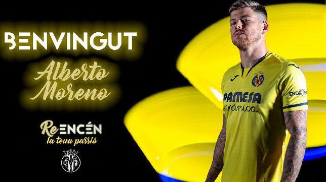 Anuncio del fichaje de Alberto Moreno (Imagen: Villarreal CF)