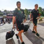 Escudero a la llegada a la concentración en Lagos (Portugal). Foto: Sevilla FC