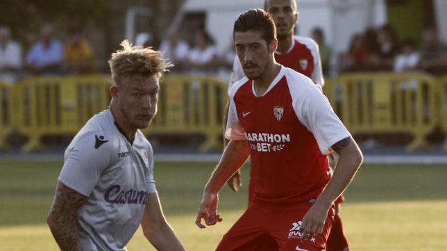 Escudero, durante el amistoso jugado por el Sevilla ante el Reading (Foto: Manuel Gómez)