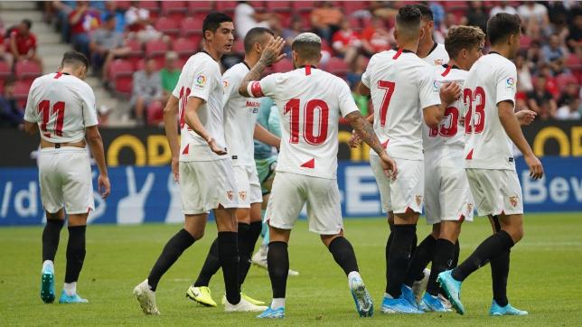 Los jugadores del Sevilla FC celebran uno de los tantos ante el Mainz 05 (SFC)